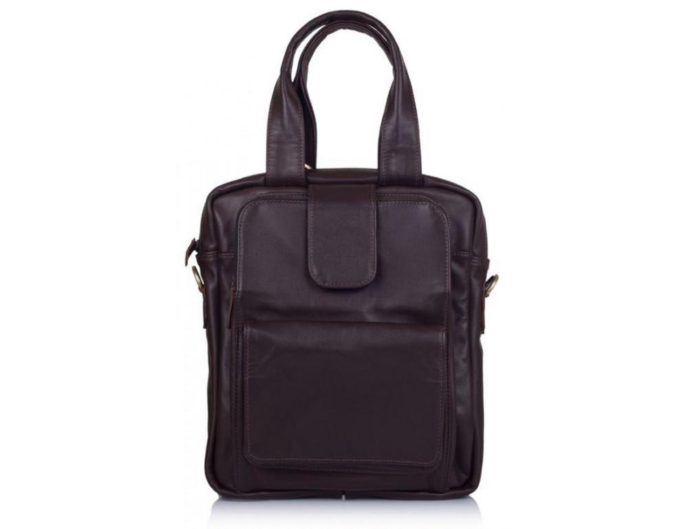 Коричневая кожаная сумка - трансформер TARWA GC-7266-1md - Фото № 6
