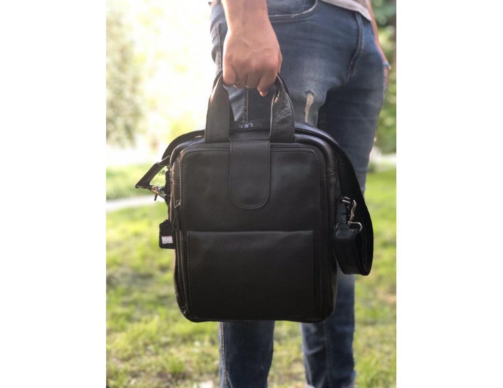 Мужская кожаная сумка-мессенджер TIDING BAG 7266A чёрный - Фото № 2
