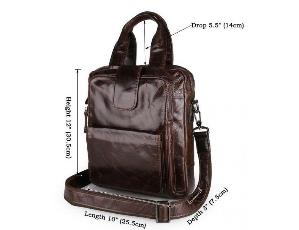 Мужской мессенджер TIDING BAG 7266C коричневая - Фото № 6