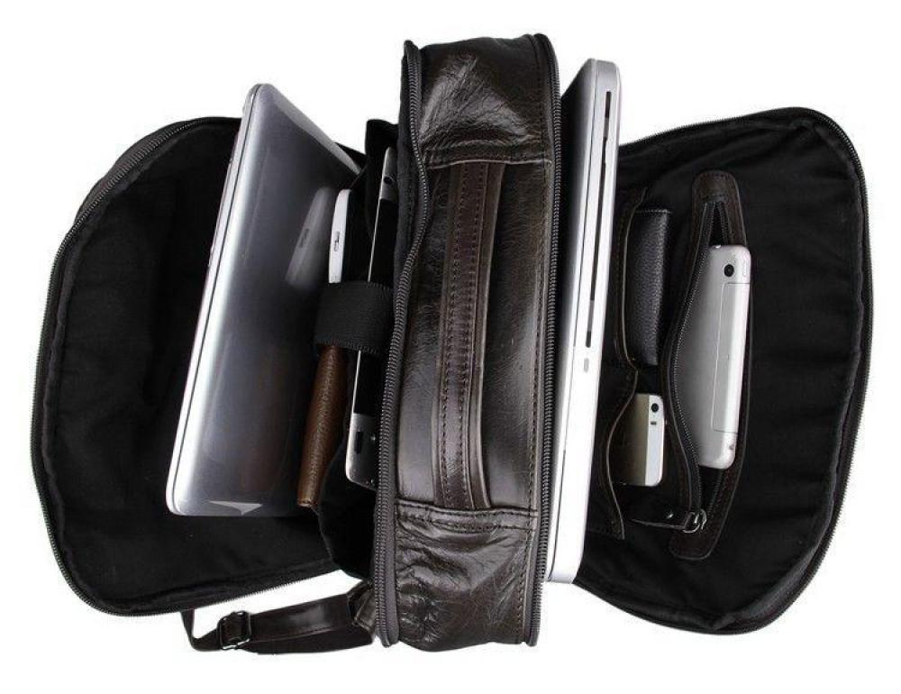 Серо-коричневый кожаный рюкзак John McDee  JD7280J  - Фото № 8