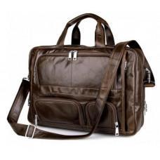 Чоловіча шкіряна сумка TIDING BAG 7289C коричнева