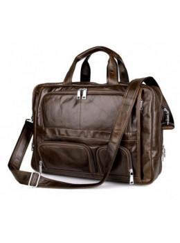 Мужская кожаная сумка TIDING BAG 7289C коричневая
