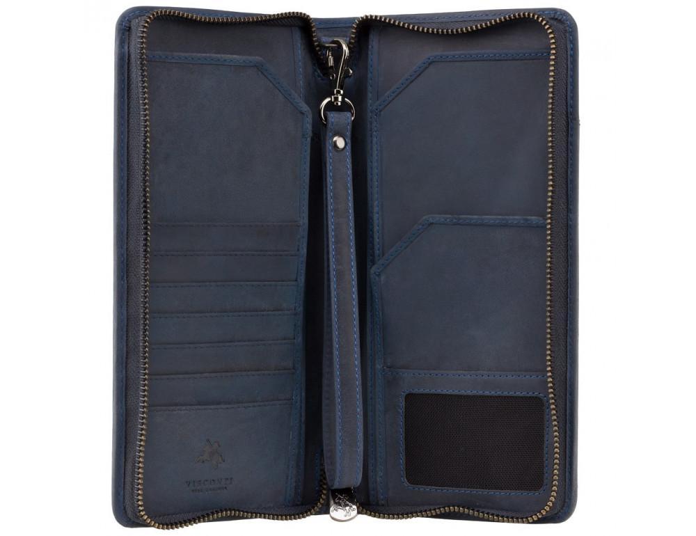 Синий кожаный клатч Visconti 728 OIL BLUE - Фото № 2