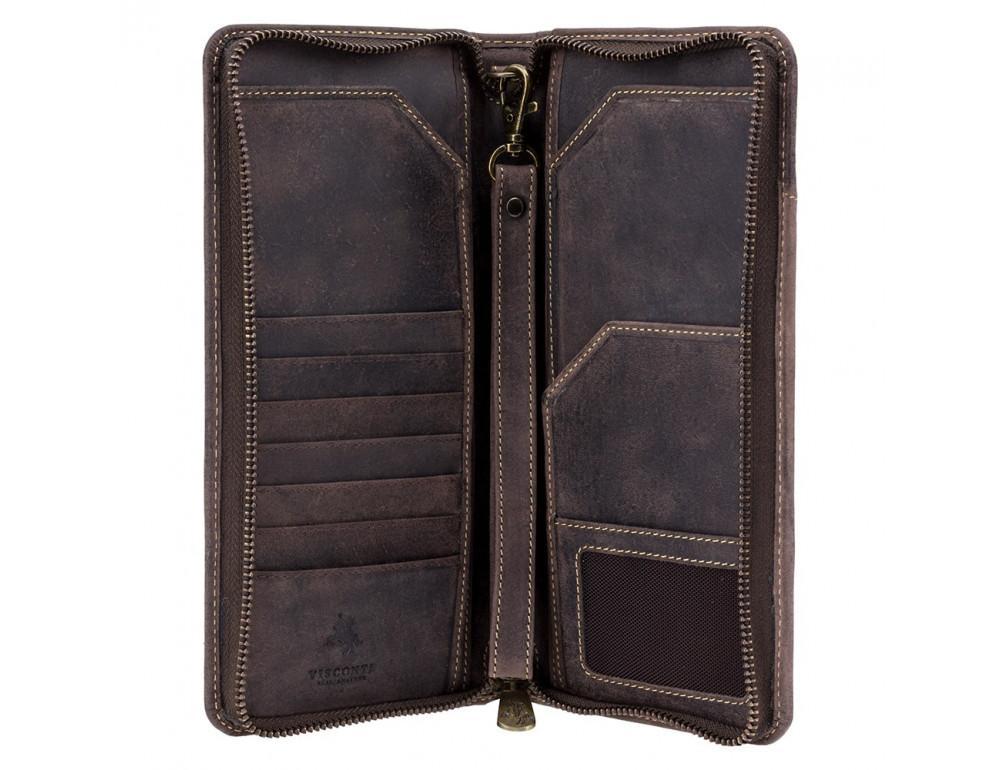 Тёмно-коричневый кожаный клатч Visconti 728 OIL BRN - Фото № 2