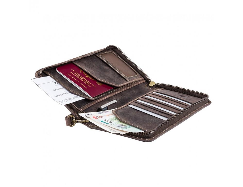 Тёмно-коричневый кожаный клатч Visconti 728 OIL BRN - Фото № 4