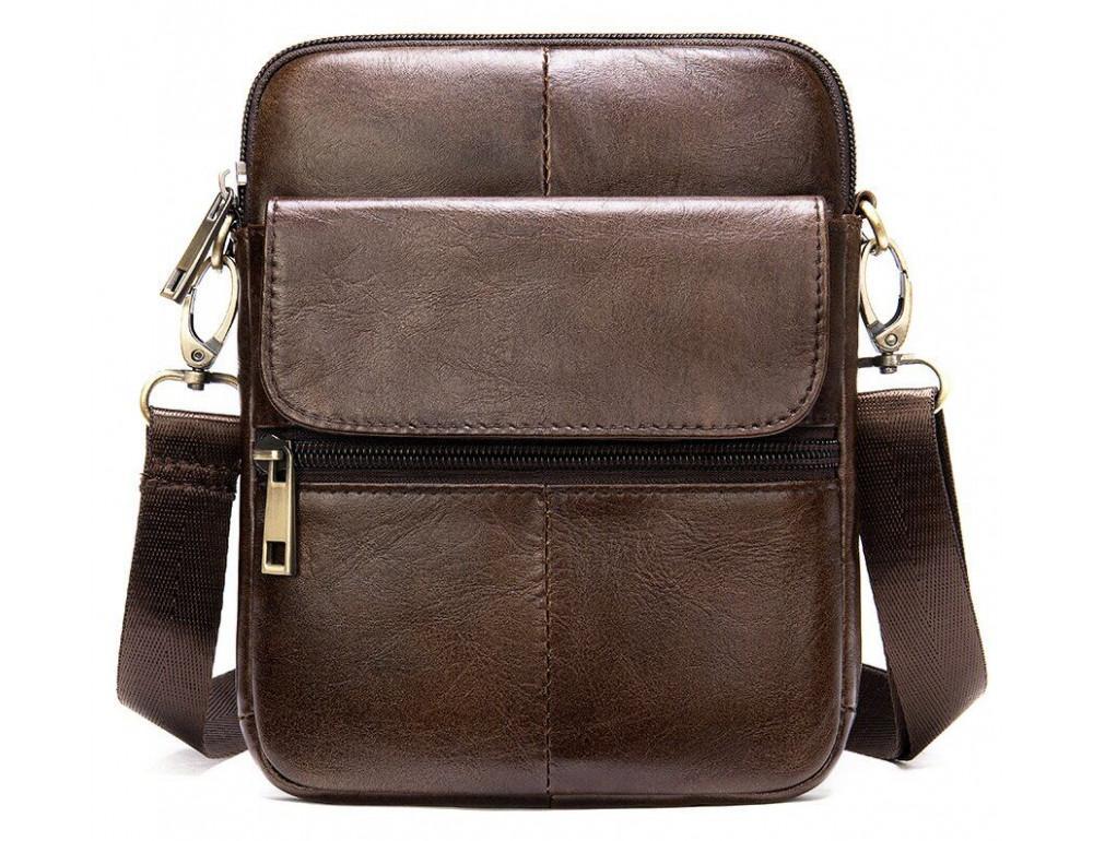 Коричневая кожаная сумка-мессенджер Tiding Bag 7350C - Фото № 1