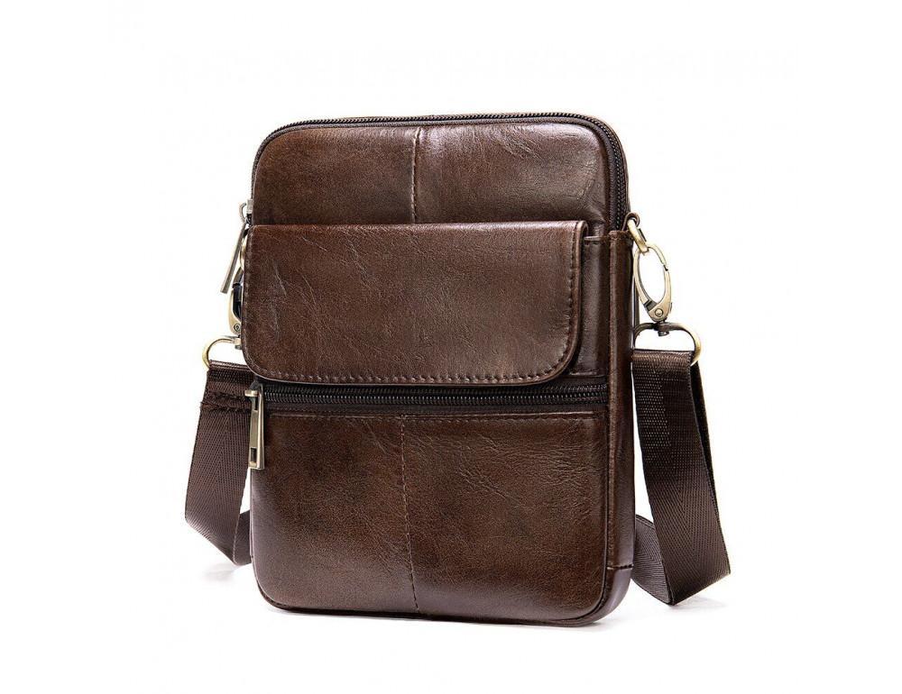 Коричневая кожаная сумка-мессенджер Tiding Bag 7350C - Фото № 3
