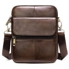 Коричневая кожаная сумка-мессенджер Tiding Bag 7350C