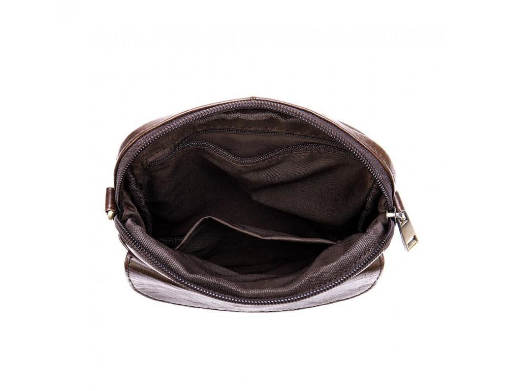 Коричневая кожаная сумка-мессенджер Tiding Bag 7350C - Фото № 4