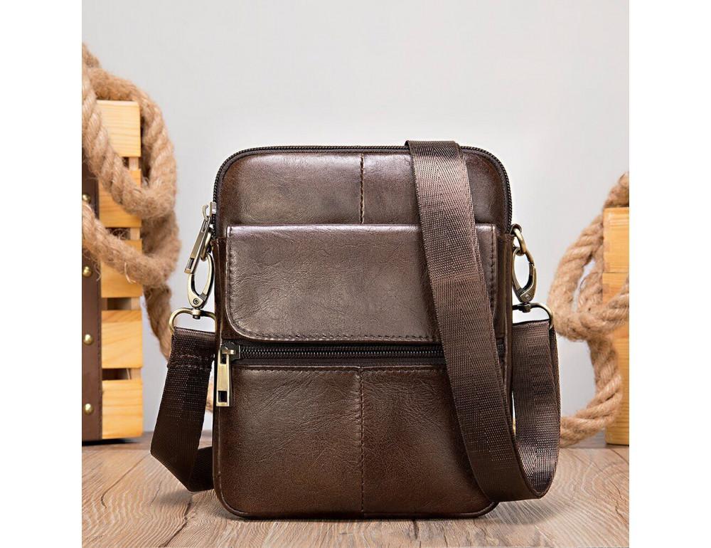 Коричневая кожаная сумка-мессенджер Tiding Bag 7350C - Фото № 5