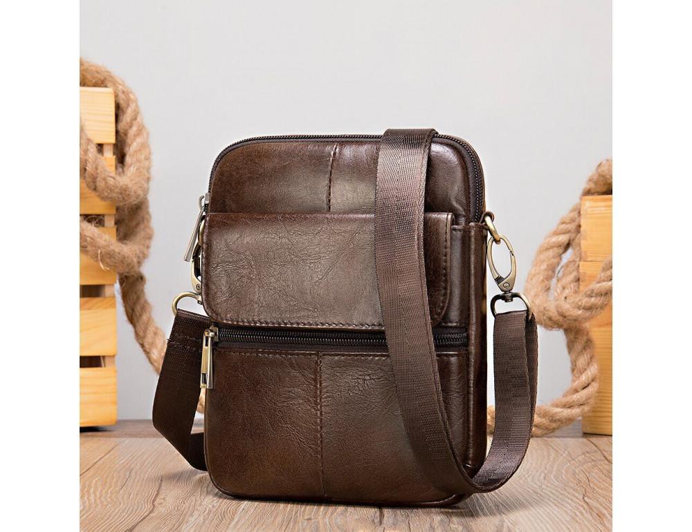 Коричневая кожаная сумка-мессенджер Tiding Bag 7350C - Фото № 6