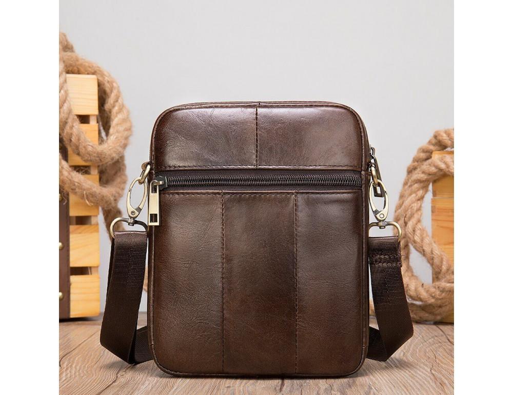 Коричневая кожаная сумка-мессенджер Tiding Bag 7350C - Фото № 7