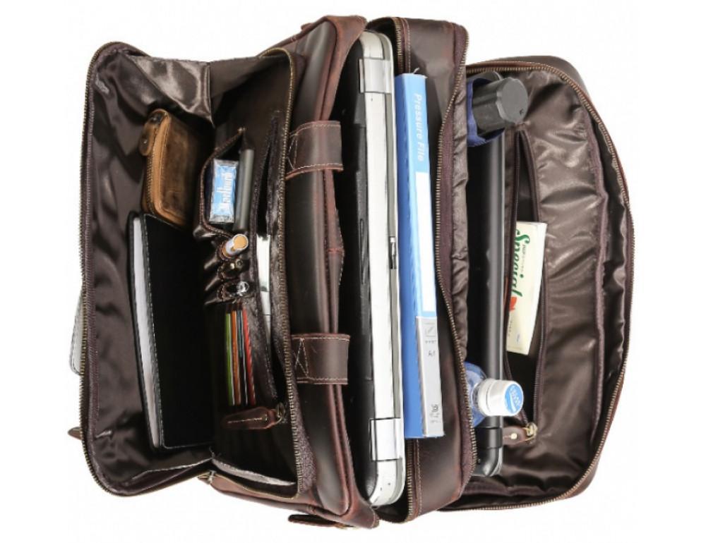 Кожаная сумка с двумя отделениями Tiding Bag 7367R коричневая - Фото № 2