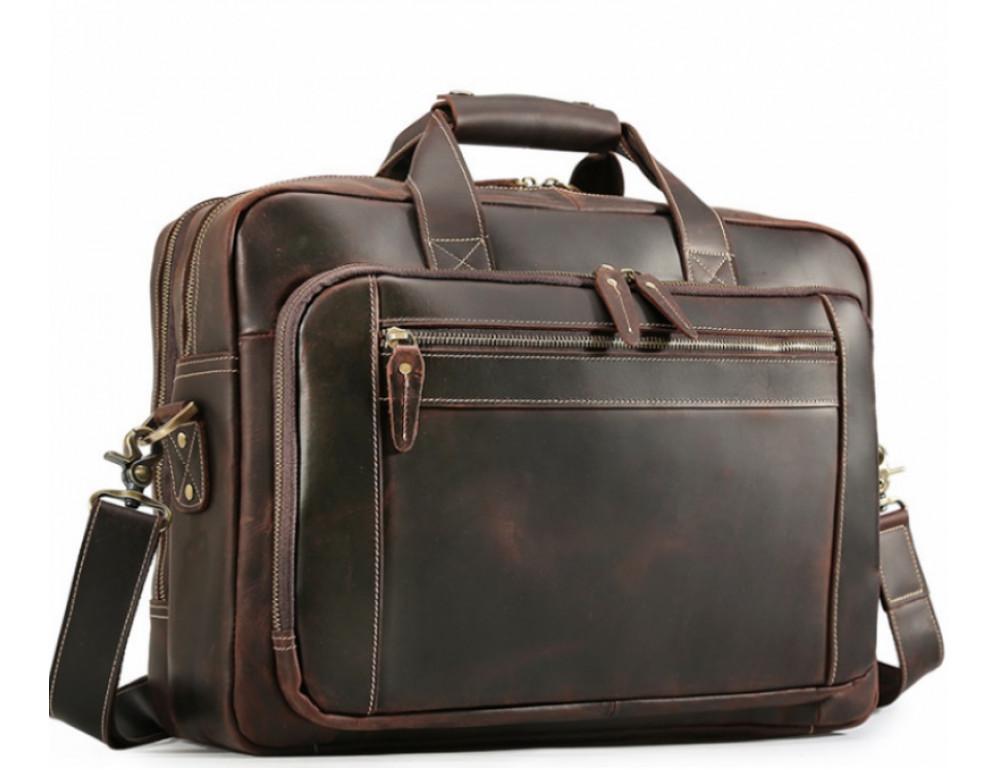 Кожаная сумка с двумя отделениями Tiding Bag 7367R коричневая - Фото № 1