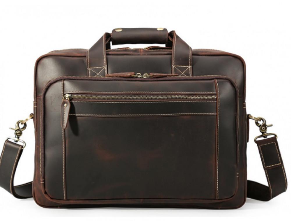 Кожаная сумка с двумя отделениями Tiding Bag 7367R коричневая - Фото № 3