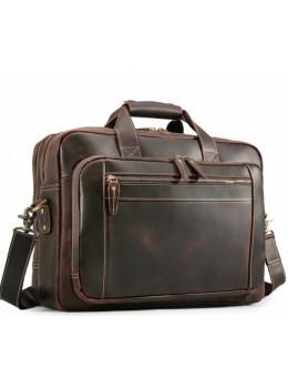 Кожаная сумка с двумя отделениями Tiding Bag 7367R коричневая