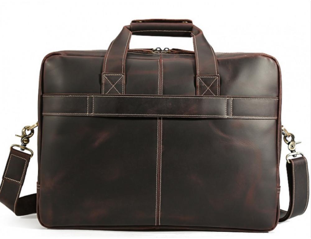 Кожаная сумка с двумя отделениями Tiding Bag 7367R коричневая - Фото № 4