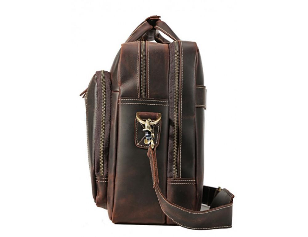 Кожаная сумка с двумя отделениями Tiding Bag 7367R коричневая - Фото № 5