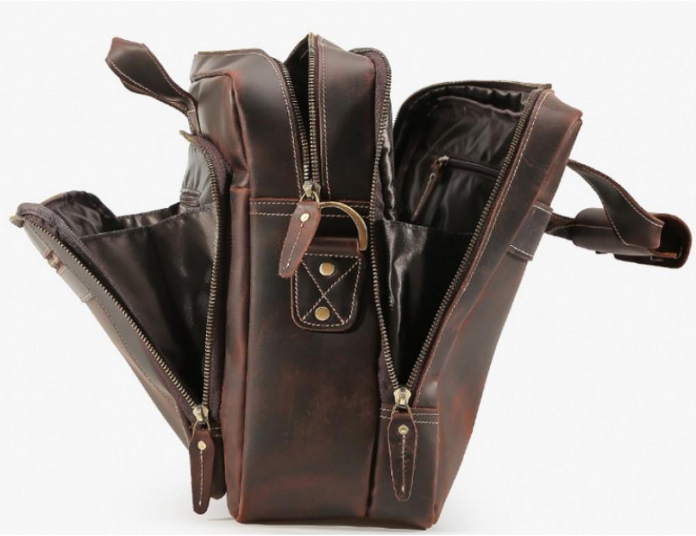 Кожаная сумка с двумя отделениями Tiding Bag 7367R коричневая - Фото № 6