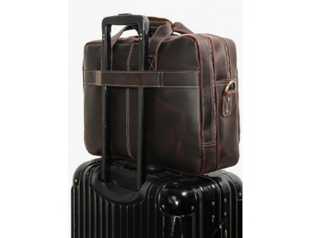 Кожаная сумка с двумя отделениями Tiding Bag 7367R коричневая - Фото № 7