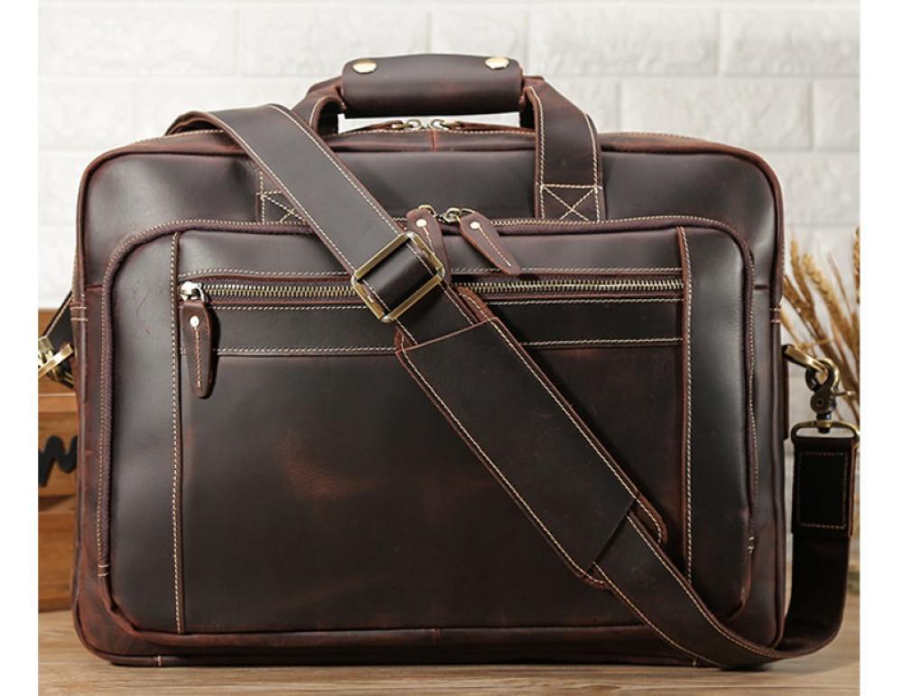 Кожаная сумка с двумя отделениями Tiding Bag 7367R коричневая - Фото № 8