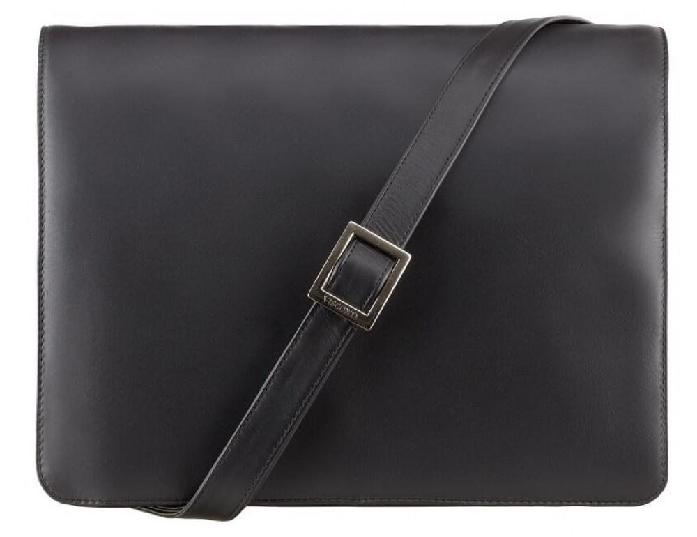 Чёрная кожаная сумка через плечо Visconti 753 BLK - Фото № 1