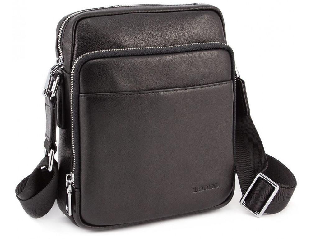 Чёрная мужская кожаная сумка мессенджер Marco Coverna 7702-1A