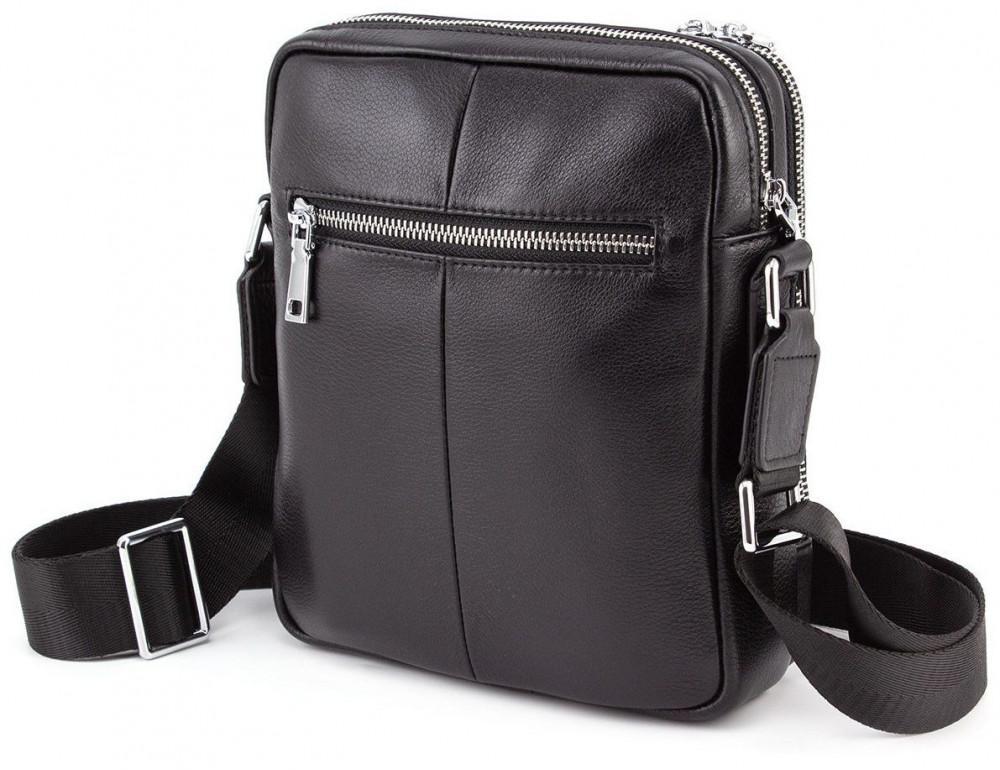 Чёрная кожаная сумка мессенджер на два отделения Marco Coverna 7705-1A black - Фото № 3