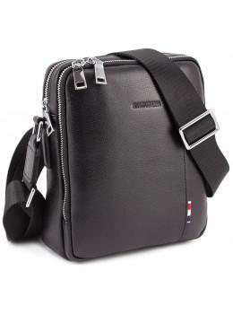 Чёрная кожаная сумка мессенджер на два отделения Marco Coverna 7705-1A black