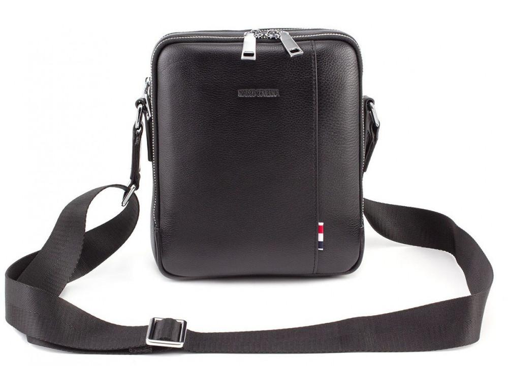 Чёрная кожаная сумка мессенджер на два отделения Marco Coverna 7705-1A black - Фото № 5
