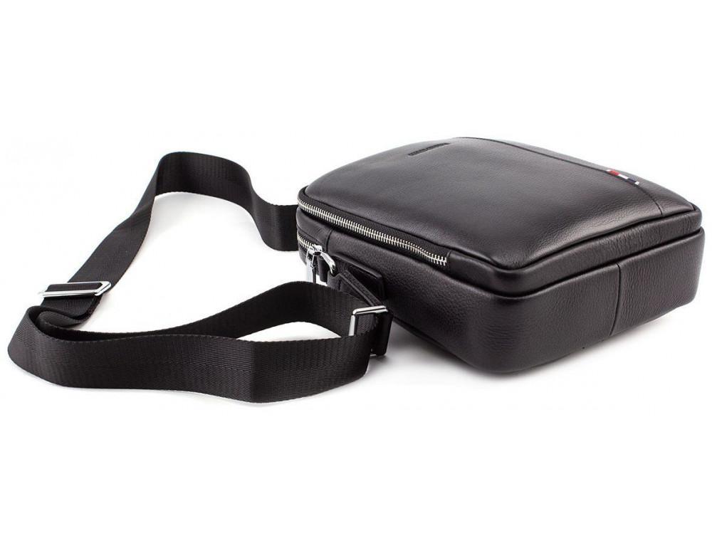 Чёрная кожаная сумка мессенджер на два отделения Marco Coverna 7705-1A black - Фото № 7