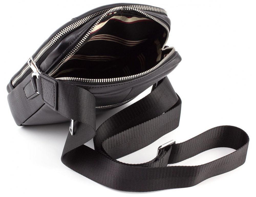 Чёрная кожаная сумка мессенджер на два отделения Marco Coverna 7705-1A black - Фото № 8