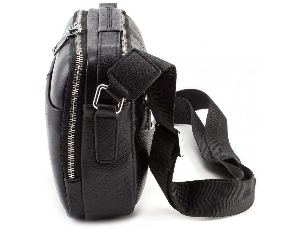 Чёрная мужская барсетка из телячьей кожи Marco Coverna 7711-1A black - Фото № 3