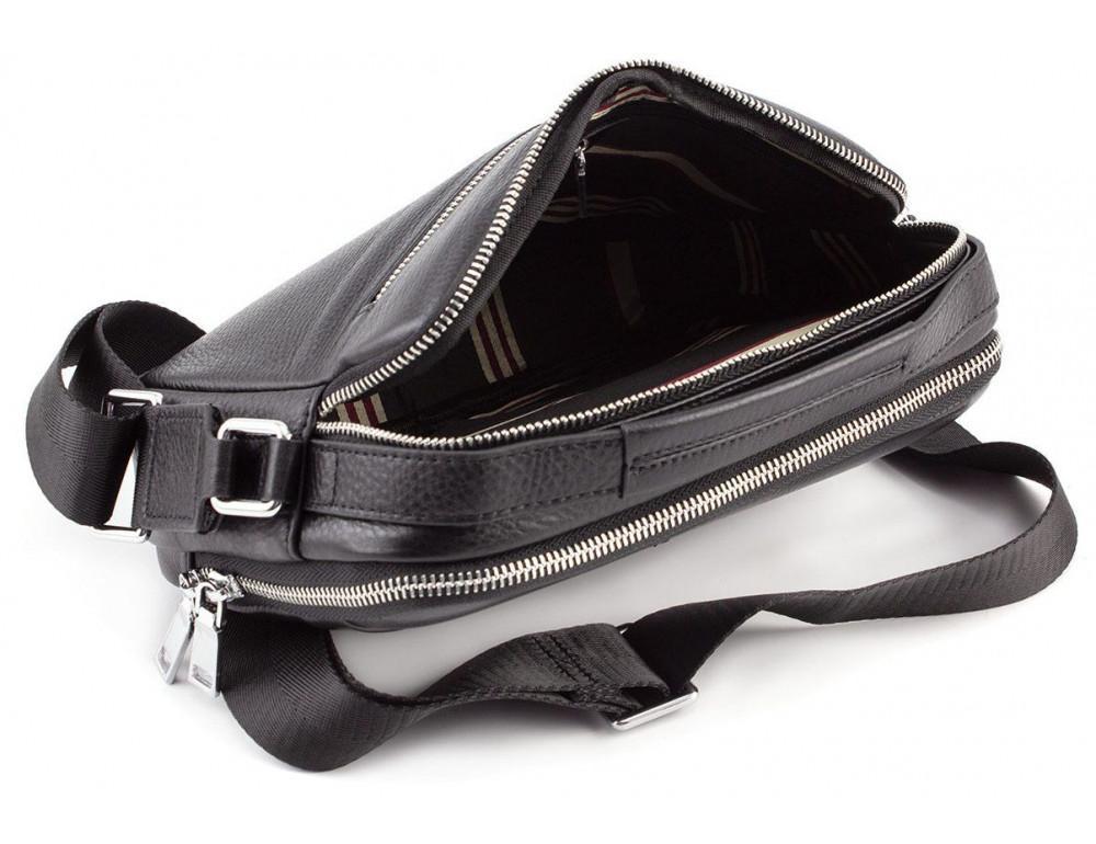 Чёрная мужская барсетка из телячьей кожи Marco Coverna 7711-1A black - Фото № 6