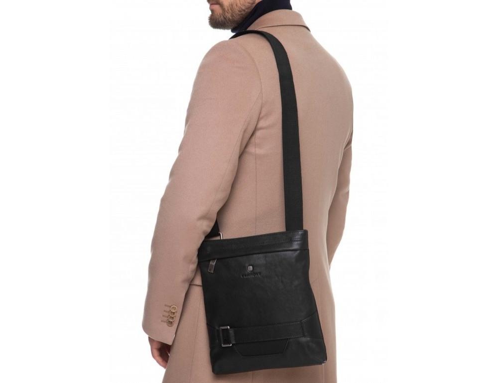 Чёрная кожаная сумка через плечо с одним отделением Blamont P7870761 - Фото № 2