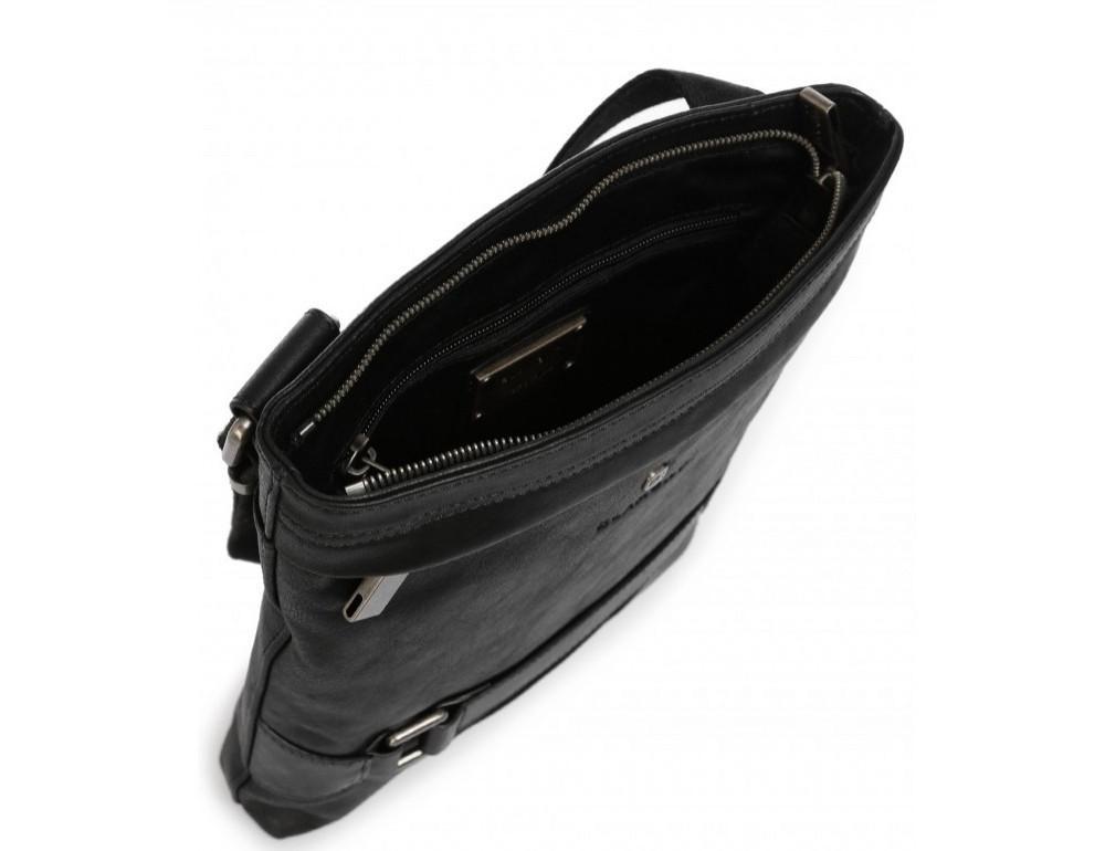 Чёрная кожаная сумка через плечо с одним отделением Blamont P7870761 - Фото № 3
