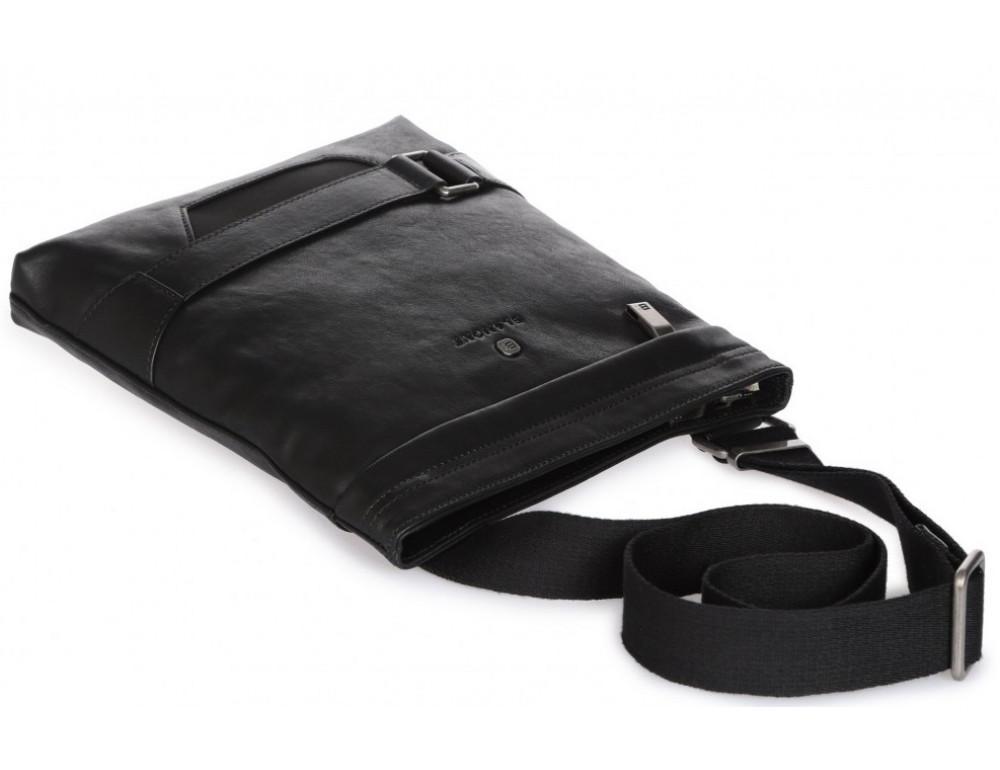 Чёрная кожаная сумка через плечо с одним отделением Blamont P7870761 - Фото № 5