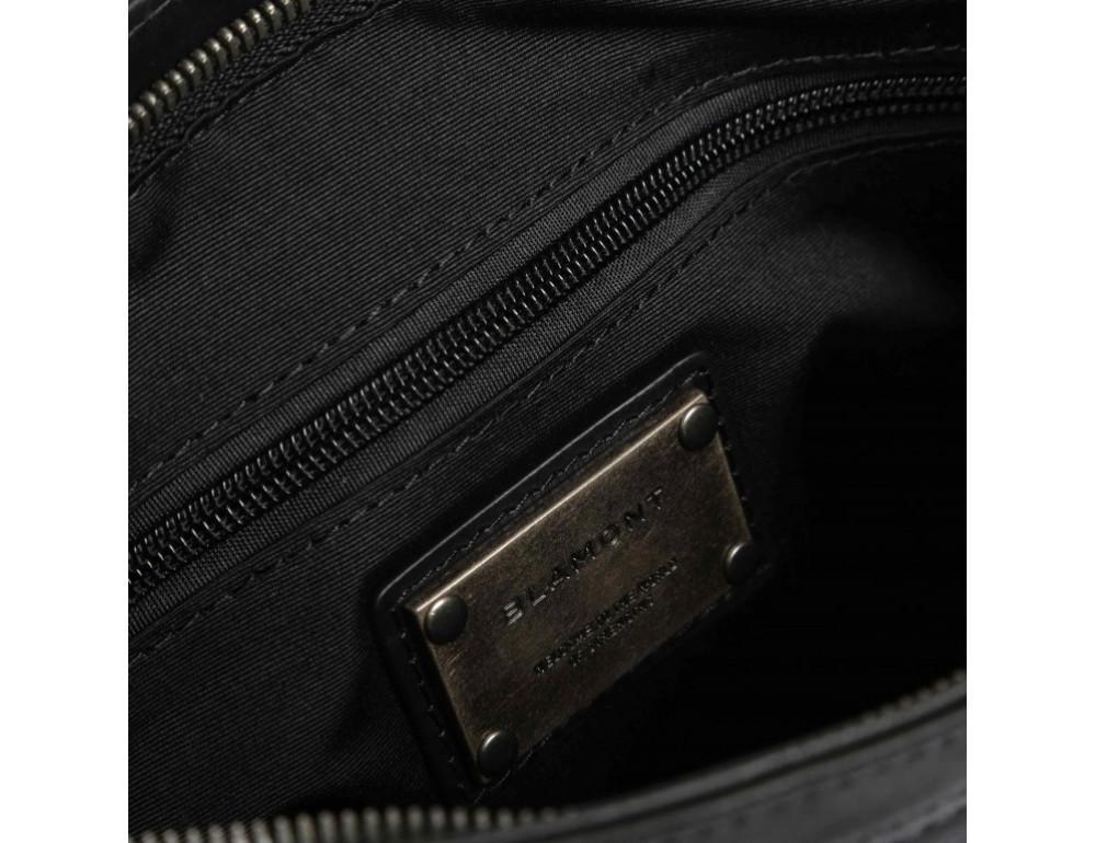 Чёрная кожаная сумка через плечо с одним отделением Blamont P7870761 - Фото № 7