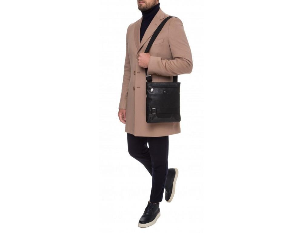 Чёрная кожаная сумка через плечо с одним отделением Blamont P7870761 - Фото № 8