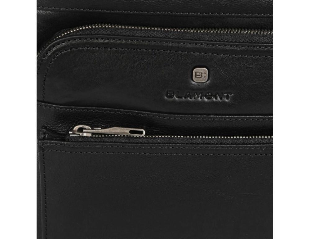Чёрная кожаная сумка через плечо Blamont P7877721 - Фото № 10