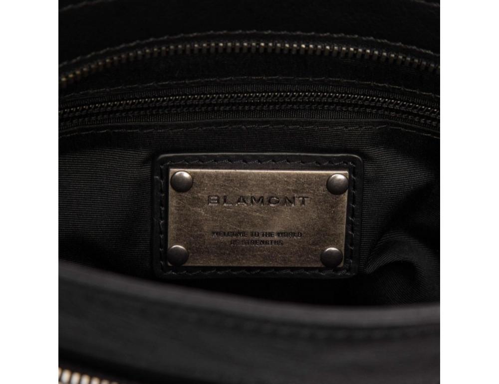 Чёрная кожаная сумка через плечо Blamont P7877721 - Фото № 11