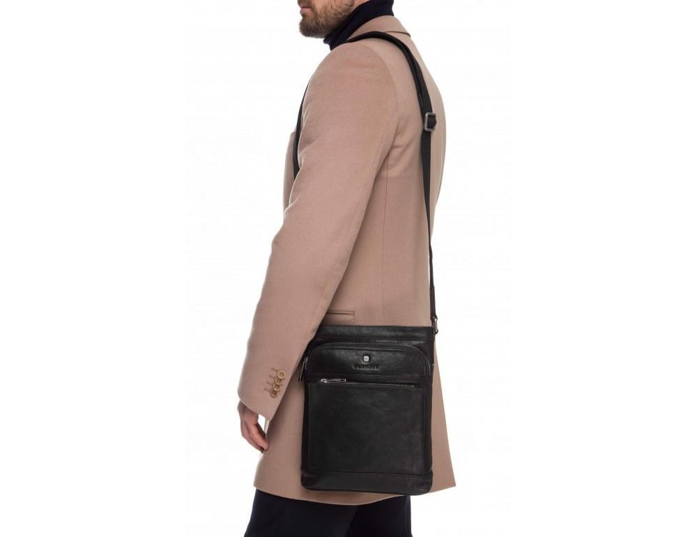 Чёрная кожаная сумка через плечо Blamont P7877721 - Фото № 2