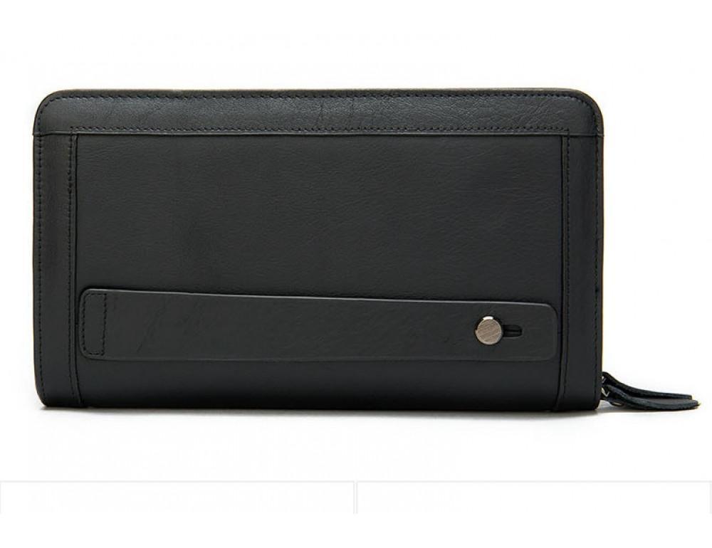 Чёрный кожаный клатч на два отделения TIDING BAG 8023A-1 - Фото № 1