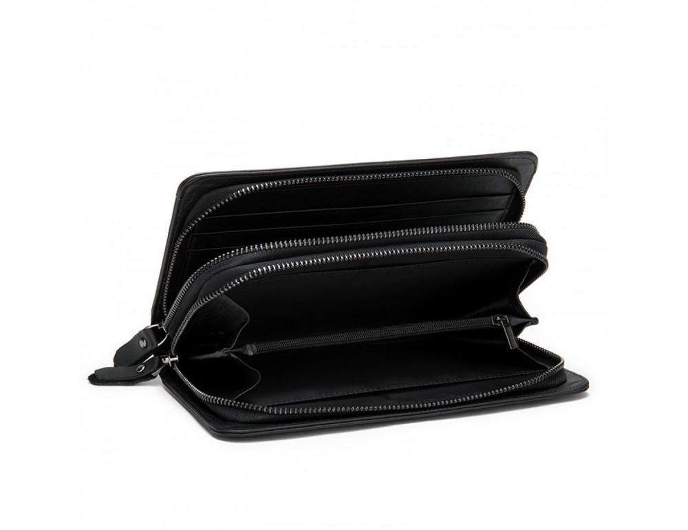Чёрный кожаный клатч на два отделения TIDING BAG 8023A-1 - Фото № 3