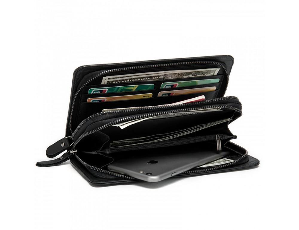 Чёрный кожаный клатч на два отделения TIDING BAG 8023A-1 - Фото № 4