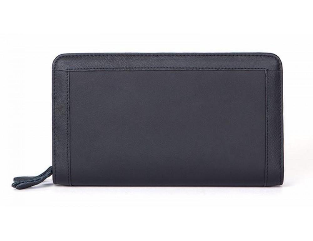 Чёрный кожаный клатч на два отделения TIDING BAG 8023A - Фото № 1