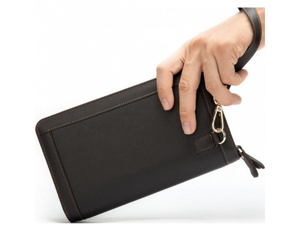 Чёрный кожаный клатч на два отделения TIDING BAG 8023A - Фото № 2