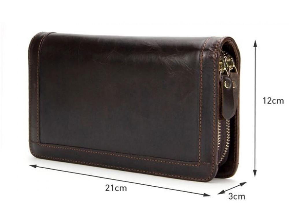 Тёмно-коричневый кожаный клатч на два отделения TIDING BAG 8023C - Фото № 7