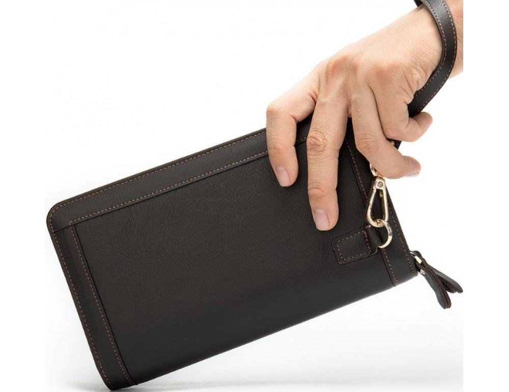Тёмно-коричневый кожаный клатч на два отделения TIDING BAG 8023C - Фото № 2