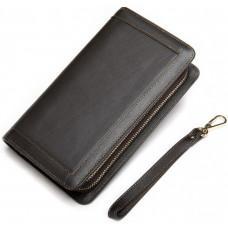 Тёмно-коричневый кожаный клатч на два отделения TIDING BAG 8023C